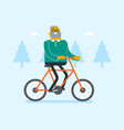 retired caucasian white man riding bicycle in park vector image