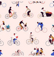 seamless pattern with people riding bikes or vector image