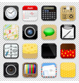 set app icons on transparent background vector image