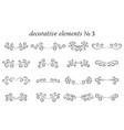 set decorative elements with flourishes curls vector image
