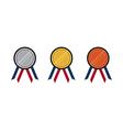 set gold silver bronze medal flat design vector image