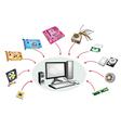 Set of Desktop Computer Equipment vector image