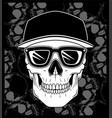 skull cap wearing glasses vector image vector image