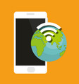 smartphone device with earth and wifi signal vector image vector image