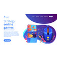 strategy online games concept landing page vector image vector image