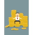 Successful wealthy businessman sitting on money vector image vector image