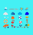 summer set icons and flying seagulls in sea vector image