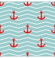 Tile sailor pattern with red anchor on zig zag vector image vector image