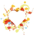 white heart over paint spots vector image vector image