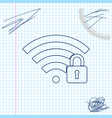 wifi locked line sketch icon isolated on white vector image vector image
