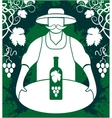 Winemaker with wine bottle vector image