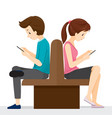 woman and man sitting back to back they playing vector image