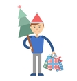 Young man with Christmas shopping at hand vector image vector image