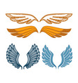 angel gold and blue wings collection gorgeous vector image