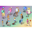 Isometric Tourists Peoples Set in Vacation vector image