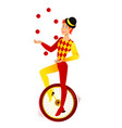 juggler on a bicycle vector image
