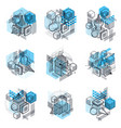 3d abstract isometric backgrounds layouts of vector image vector image