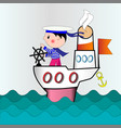 a small captain on a ship going to ocean vector image vector image