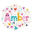 Amber female name decorative lettering type design vector image vector image