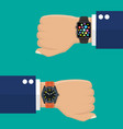 analog watch and smart watch on businessman s hand vector image vector image