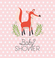 baby shower card with cute fox vector image vector image