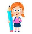 back to school cute girl holding big pencil vector image vector image