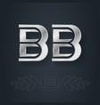 bb - initials or silver logo b and b - metallic
