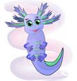 blue funny axolotl vector image vector image