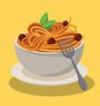 bowl spaghetti and meatballs sauce food fresh vector image