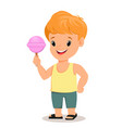boy in shirt and shorts holds tasty candy cute vector image