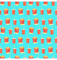 bright pattern with cola and french fries on blue vector image vector image