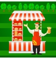 burger street cart with seller Fast food vector image