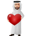 cartoon arab businessman holding a red heart vector image vector image