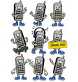 cellphone mascot set in various poses vector image