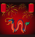 chinese dragon and lantern with fireworks in vector image