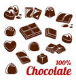 chocolate bar and candy icon set for food design vector image vector image