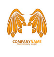 company name emblem with golden angel wings web vector image vector image