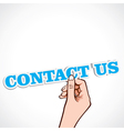 contact us word in ahnd vector image vector image