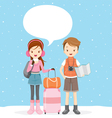 Couple With Talk Bubble Ready To Travel vector image