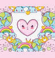 cute kawaii frame cartoons vector image