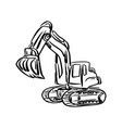 doodle excavator backhoe sketch vector image