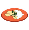 dumplings on a plate on white background vector image