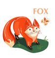 educational flashcard fox and flying butterfly vector image vector image