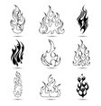 Fire Tattoo Icon Set vector image vector image