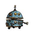 funny round robot pop art retro cyberpunk vector image