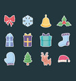 gift box with set icons of christmas vector image