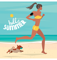 Girl trains on the beach vector image vector image