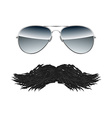 Glasses with Mustache isolated on white background vector image vector image