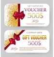 Golden design for gift certificate coupon Card vector image