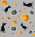 halloween seamless pattern design with cat in vector image
